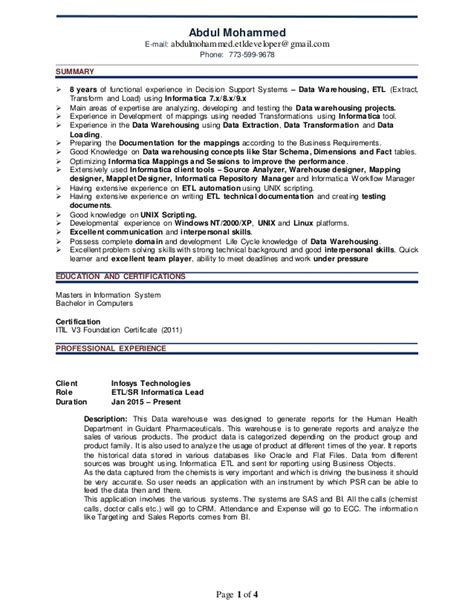 Sle Resume For Experienced Etl Developer Abdul Etl Resume
