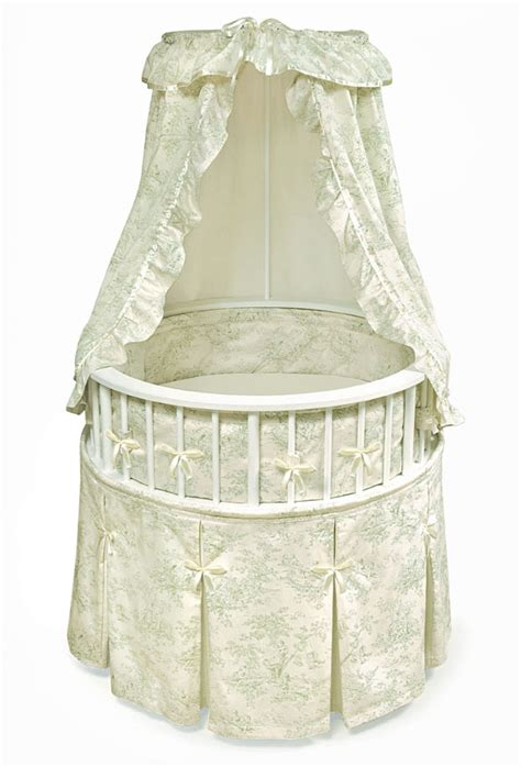 round bassinet bedding white elegance round baby bassinet w sage toile bedding