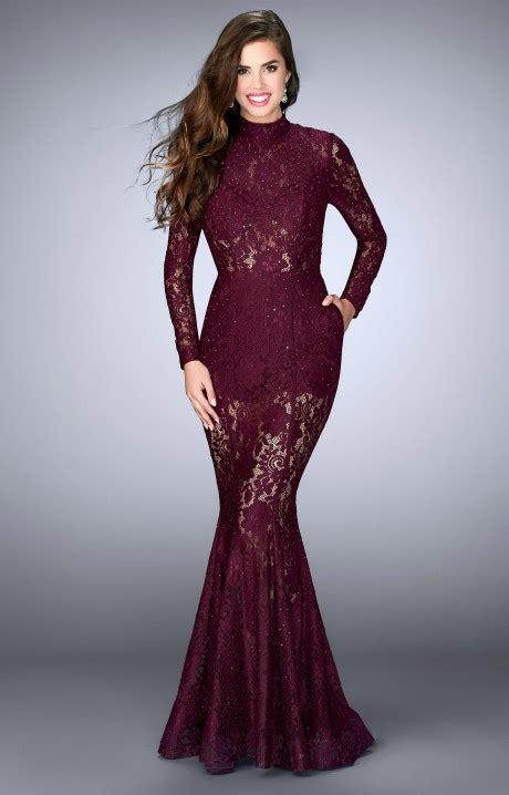 la femme  lace romper dress  sleeves prom dress