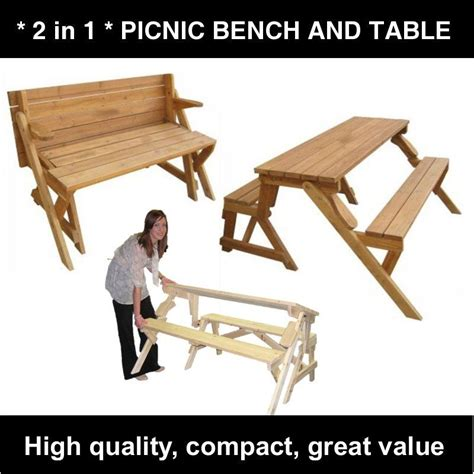Folding Wooden Picnic Table Wood Folding Garden Picnic Table And Bench 2 In 1 Ebay
