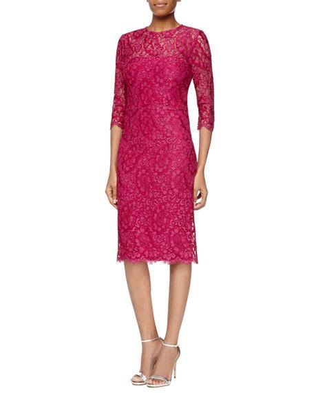 3 4 Sleeve Lace Sheath Dress kalinka 3 4 sleeve lace sheath dress pink