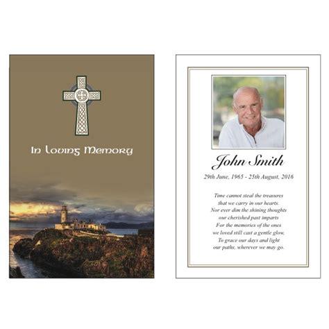 celtic funeral card free templates celtic wallet card code wci014 island memorial