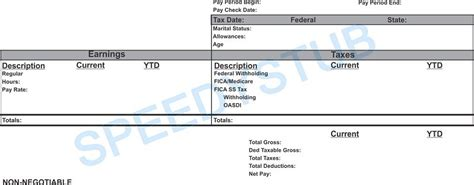 independent contractor pay stub template template design