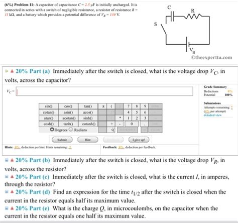 uncharged capacitor resistor connected series a capacitor of capacitance c 2 5 mu f is initiall chegg