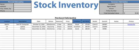 search results for stock inventory sheet template