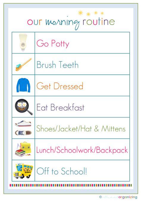 Printable Toddler Morning Routine Chart | iheart organizing back to school organizing establishing