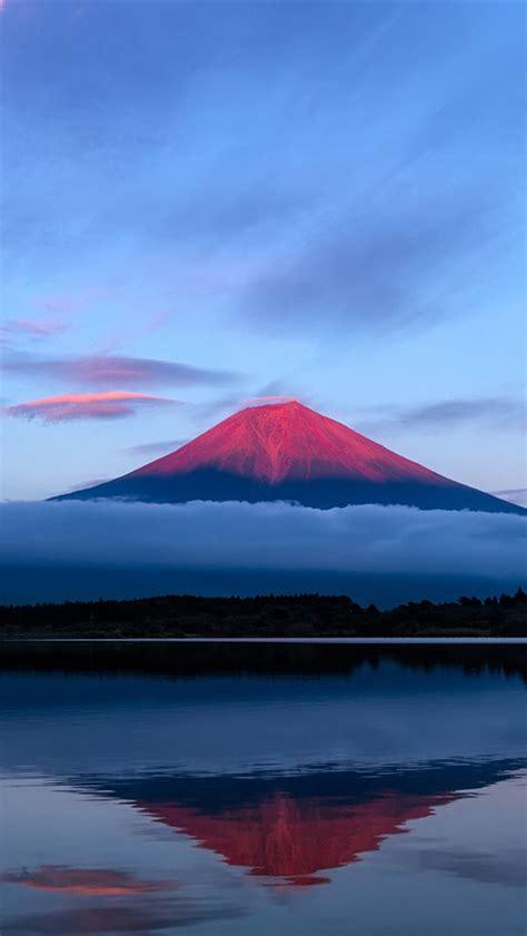 wallpaper iphone 5 japan япония fuji горы вечер небо озеро отражение синий