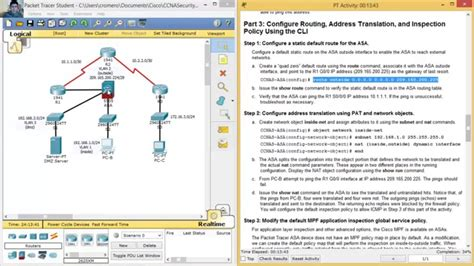 cisco packet tracer firewall tutorial 9 3 1 1 packet tracer configuring asa basic settings and