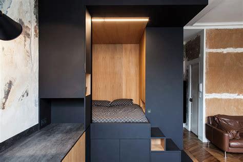 attractive Small Apartment Living Room #2: Batiik-Refurbished-Small-Paris-Studio-Apartment_10.jpg