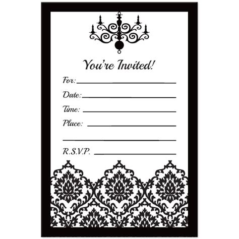 Black And White Invitations Templates black and white birthday invitation template free
