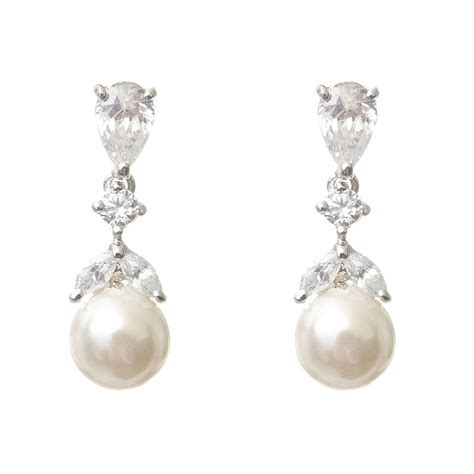 braut ohrringe tropfen iris pearl and crystal drop earrings by chez bec