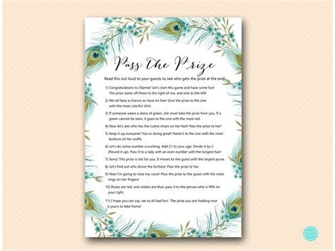 printable bridal shower poems pass the prize pass the parcel game poem peacock bridal