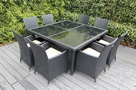 Ohana Outdoor Furniture by Ohana Outdoor Patio Wicker Furniture Square 9pc All Weather Dining Set With Free Patio Cover