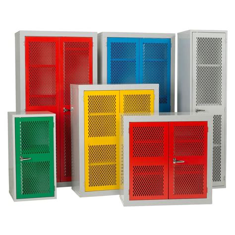 Metal Storage Cabinets With Doors And Shelves Metal Cabinet Storage With Colorful Mesh Doors And Shelves Decofurnish