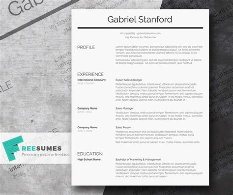 Simple Professional Resume Template by Professional Resume Template Freebie Sleek And Simple