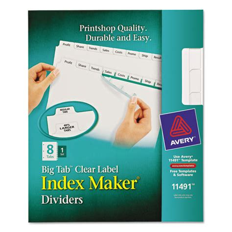 avery index maker template ave11491 avery index maker print apply clear label