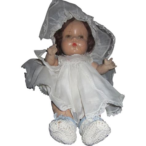 composition doll tin horsman composition baby doll with tin and