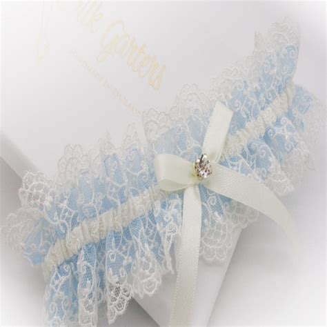 Blue embroidered lace ruffle Wedding garter with diamante