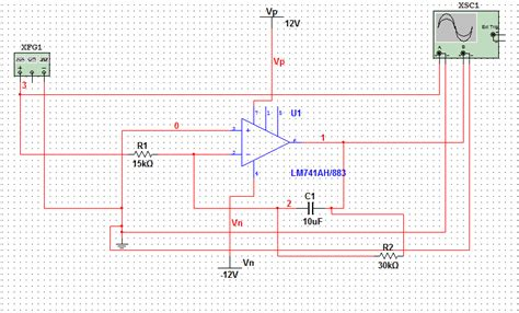 integrator lifier circuit project in multisim