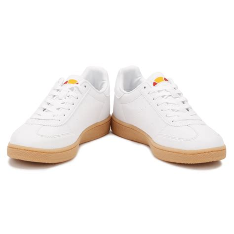 white sneakers gum sole ellesse womens white napoli trainers leather gum