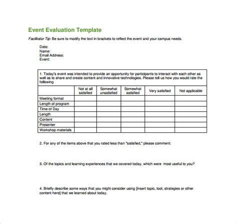 event survey template word event evaluation form 9 free documents in pdf word excel