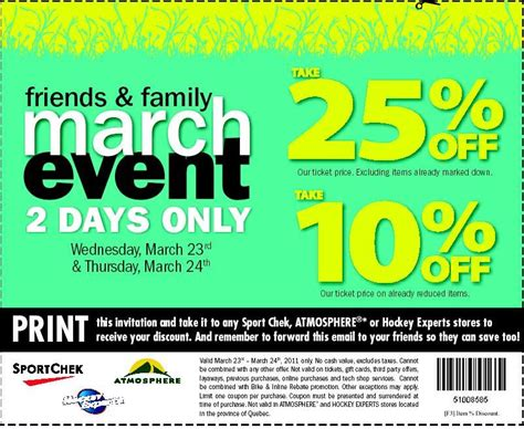Sport Chek Gift Card Discount - sport chek canada friends family sale save up to 25 printable discount coupon