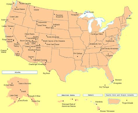 national map us national parks pictures map
