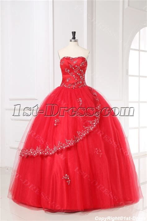 Red Puffy Quinceanera Gown Dress 2011 with Sweetheart:1st dress.com