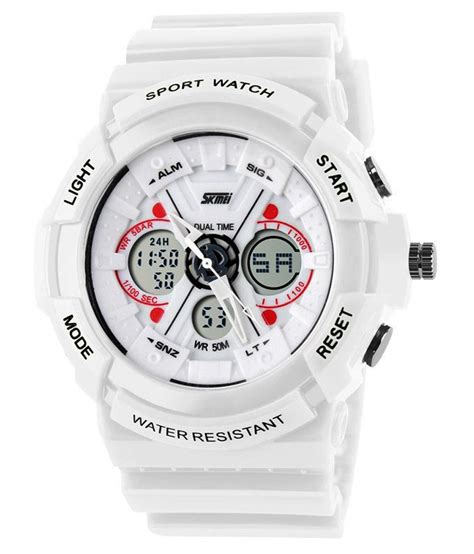 skmei white analog digital sports price in india