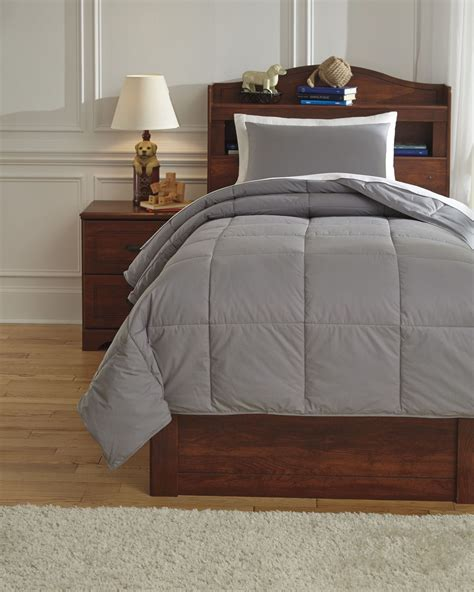 gray twin bedding plainfield gray twin comforter set from ashley q759041t