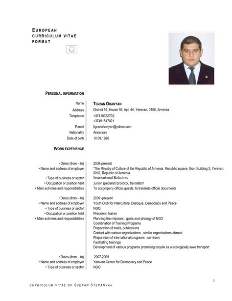 format cv in english europass cv english exle doc cv exles europass
