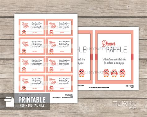 printable bridal shower raffle tickets owl girl baby shower printable diaper raffle tickets and