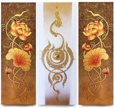 lotus flower painting designs lotus flower abstract traditional thai painting