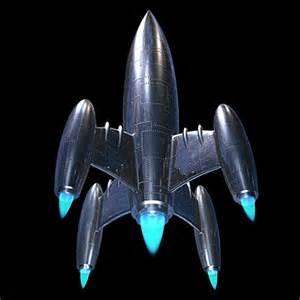 classic silver rocket ship 3d max retro rocket