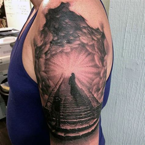 stairway to heaven tattoo clouds with stairs to heaven for on arm