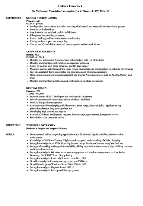 system administrator resume template certified system