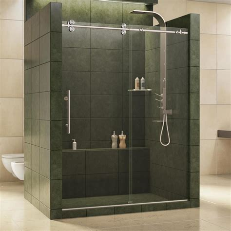 Lowes Frameless Shower Door Shop Dreamline Enigma 56 In To 60 In W X 79 In H Frameless Sliding Shower Door At Lowes