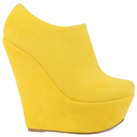 new yellow faux suede womens high wedge heel ankle