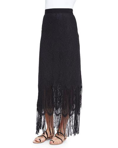 miguelina fringe maxi skirt black