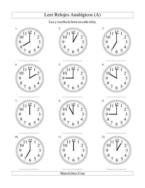 generador de ejercicios para aprender la hora y leer el reloj leer la hora en un reloj anal 243 gico en intervalos de una
