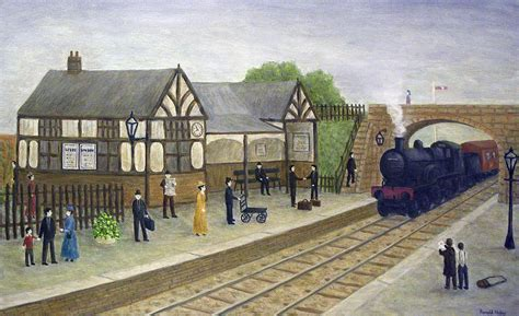 Vintage British Home Decor by Railway Station 1905 Painting By Ronald Haber