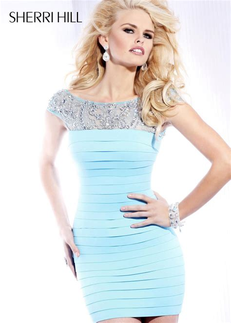 Cheap Duvet Covers Online 2013 Sherri Hill 2933 Light Blue Bandage Cocktail Dress
