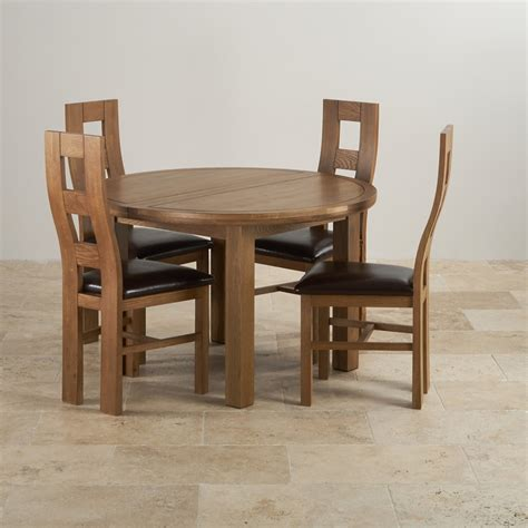 Solid Oak Extendable Dining Table Knightsbridge Extending Dining Table 4 Leather Chairs
