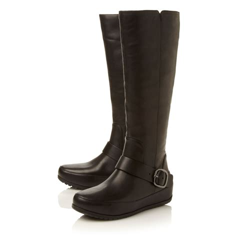 fitflop dueboot leather knee high boot in black lyst