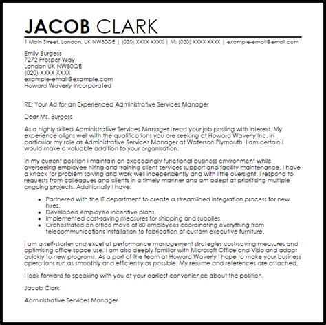 Administrative Services Manager Cover Letter Sample