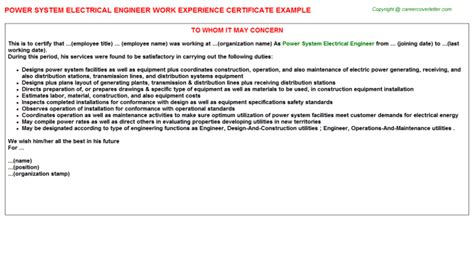 Work Experience Letter For Electrical Engineer Electrical Engineer Work Experience Certificates