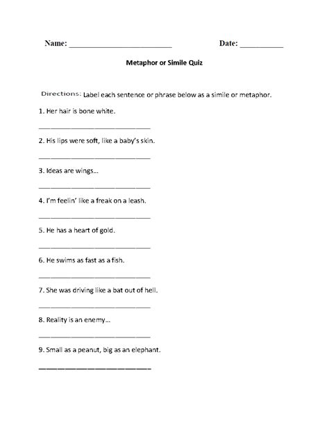 Simile And Metaphor Worksheet by 8 Best Images Of Simile Metaphor Personification Worksheet