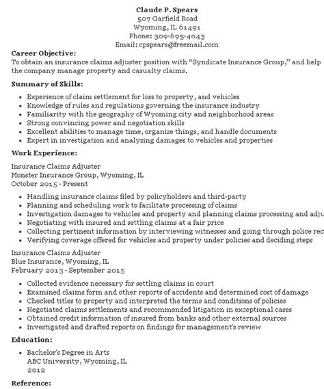 Adjuster Sle Resumes by Resume Title For Claims Adjuster 28 Images Insurance Claims Representative Resume Sle