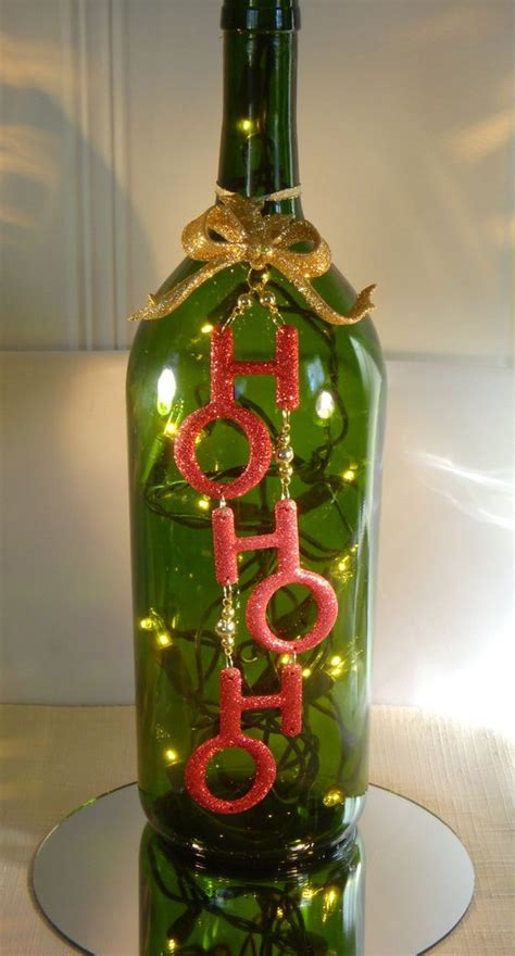 wine bottles decorated with glass decoration wine bottle l with ho ho ho 26