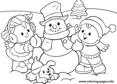 snow coloring pages preschool preschool s winter snowman and kids5d0f coloring pages